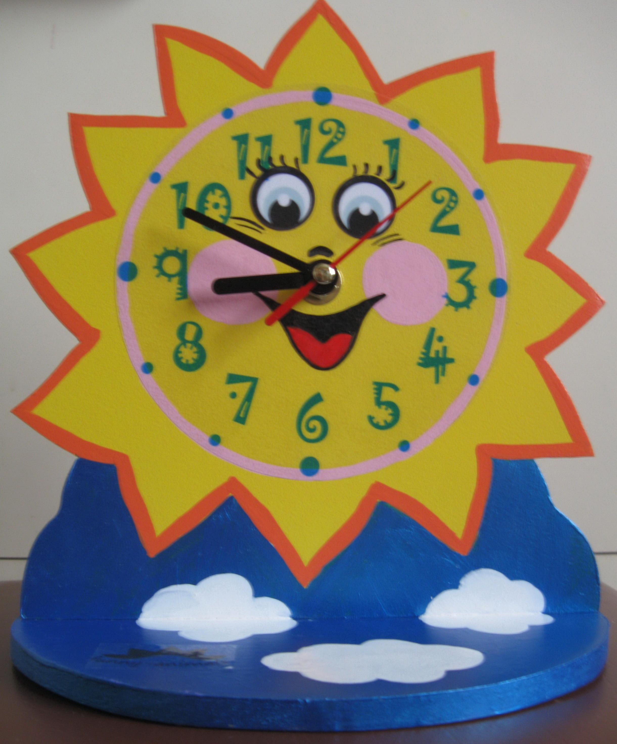 Часы настенные в виде солнца своими руками 111